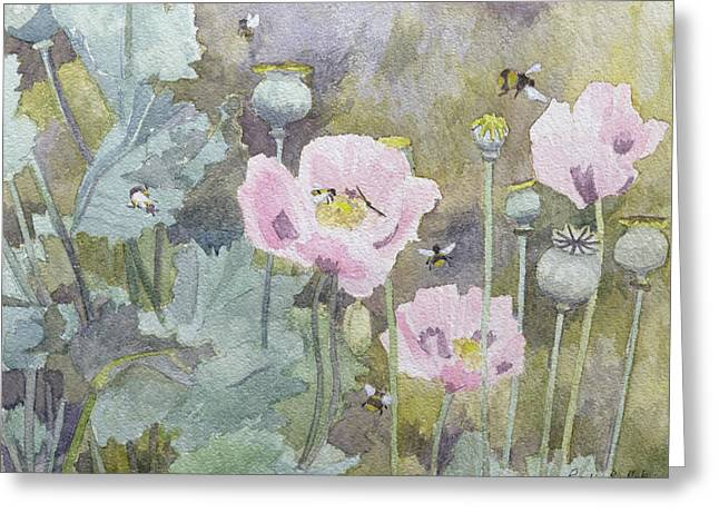 Flowers Posters Greeting Cards - Pink poppies with bees Greeting Card by Rosalie Bullock