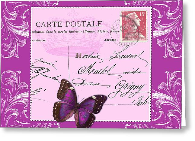France Greeting Cards - Pink postcard Greeting Card by Marion De Lauzun
