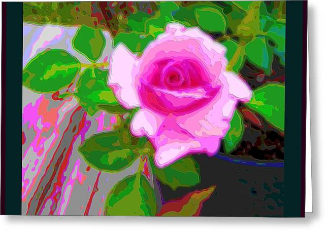 Color Enhanced Mixed Media Greeting Cards - Pink Potted Rose 2 Borders Enhanced Greeting Card by L Brown