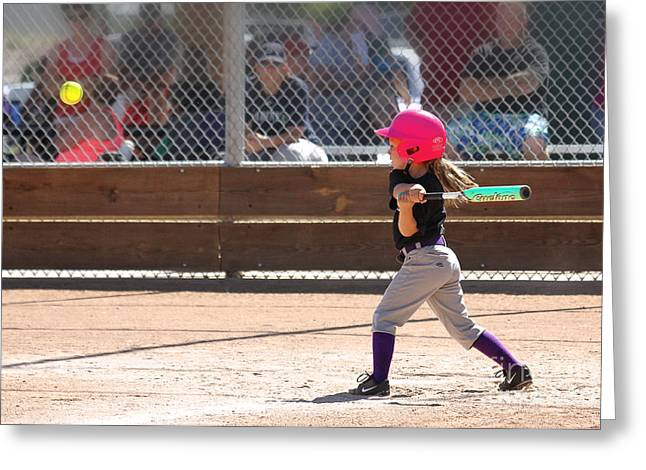 Girls Softball Greeting Cards - Pink Power Greeting Card by Bob Hislop