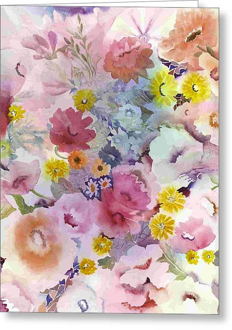 Tasteful Art Greeting Cards - Pink Profusion Greeting Card by Neela Pushparaj