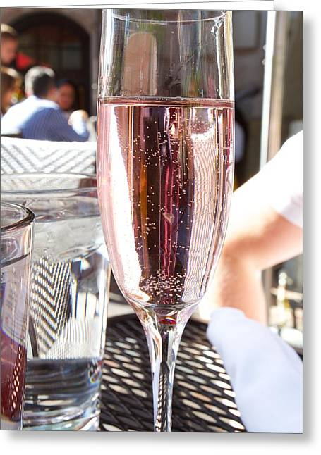 Prosecco Greeting Cards - Pink Prosecco Greeting Card by Allan Morrison