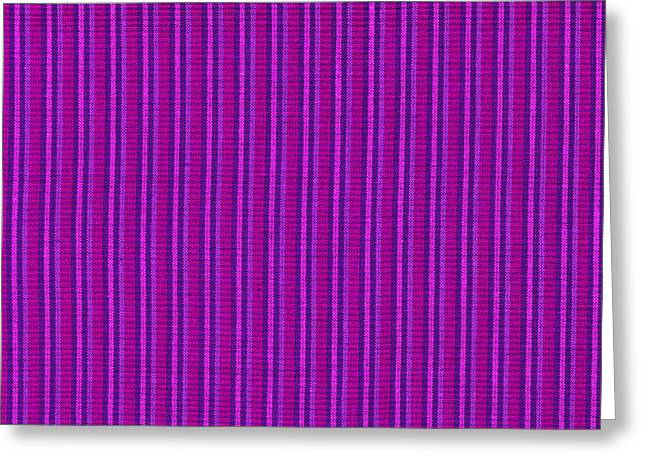 Antique Straight Pattern Greeting Cards - Pink Purple And Black Striped Textile Background Greeting Card by Keith Webber Jr