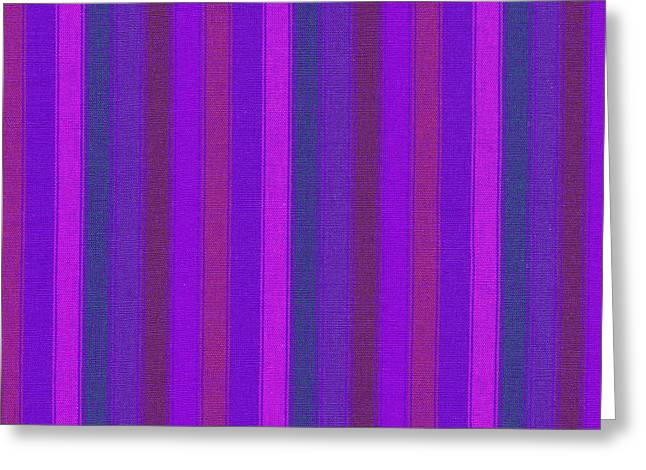Antique Straight Pattern Greeting Cards - Pink Purple And Blue Striped Textile Background Greeting Card by Keith Webber Jr