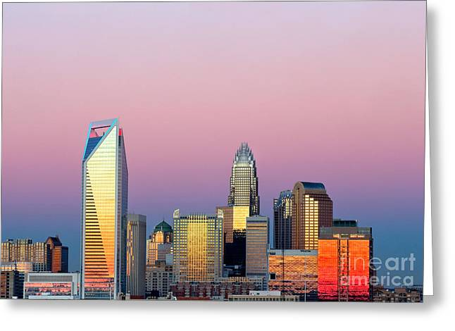 Charlotte Nc Photography Greeting Cards - Pink purple sky over Charlotte skyline Greeting Card by Patrick Schneider
