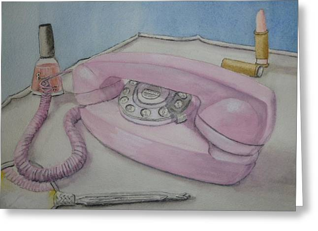 Telephone Greeting Cards - Pink Retro 1960 telephone Greeting Card by Kelly Mills