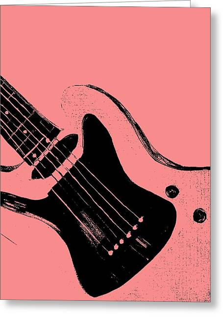 Hot Pink Custom Greeting Cards - Pink Retro Guitar Greeting Card by Mark Moore