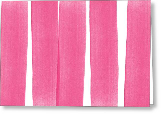 Kid Mixed Media Greeting Cards - Pink Ribbons- Colorful abstract watercolor painting Greeting Card by Linda Woods