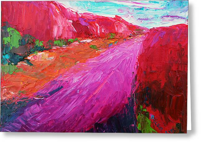 Pink Road 1 Greeting Card by Becky Kim