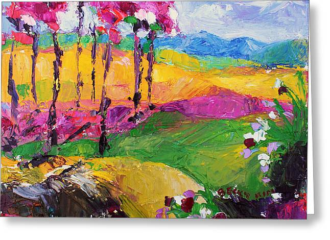 Pallet Knife Greeting Cards - Pink Road 2 Greeting Card by Becky Kim