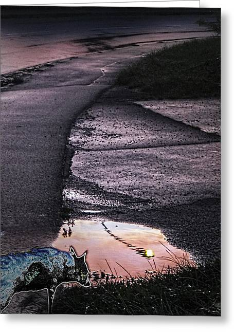 Gloaming Greeting Cards - Pink Road With Ghost-dog Greeting Card by Nafets Nuarb