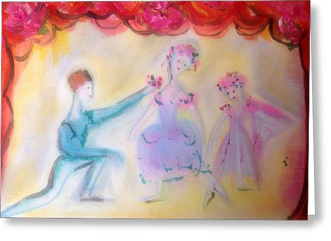 Dance Ballet Roses Greeting Cards - Pink Rose ballet trio Greeting Card by Judith Desrosiers
