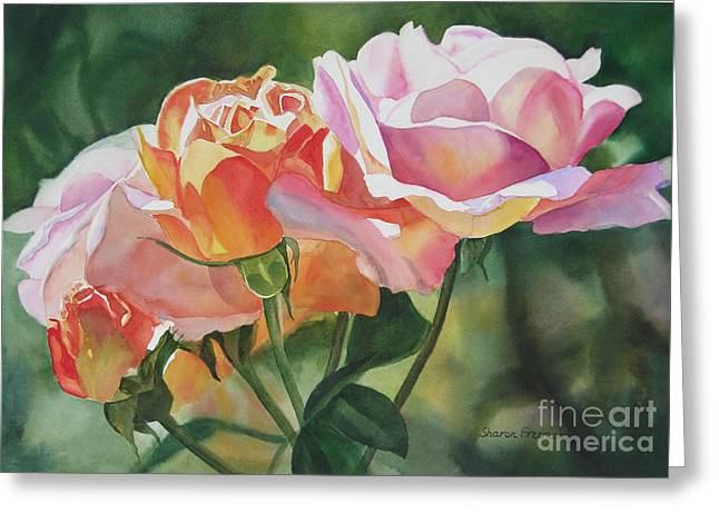 Orange Rose Greeting Cards - Pink Rose Buds and Blossoms Greeting Card by Sharon Freeman