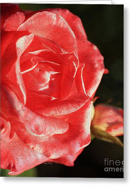Reception Greeting Cards - Pink Rose Greeting Card by Cheryl Young