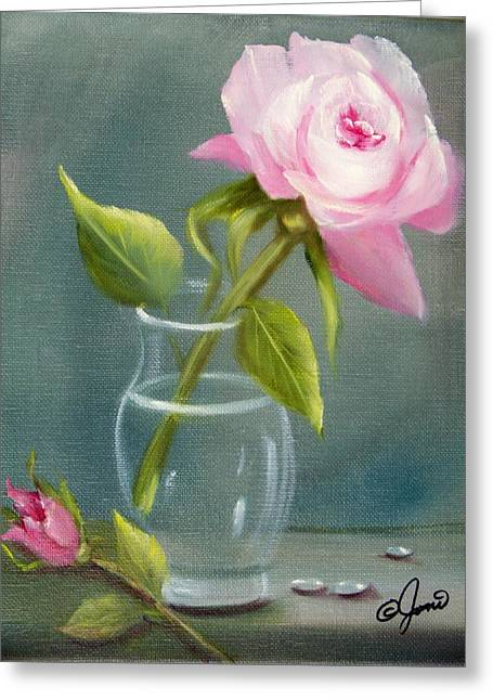 Pink Rose In Glass Greeting Card by Joni McPherson