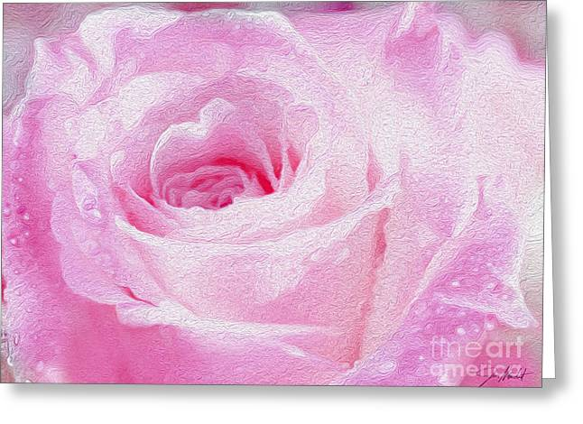 Blooming Mixed Media Greeting Cards - Pink Rose Greeting Card by Jon Neidert