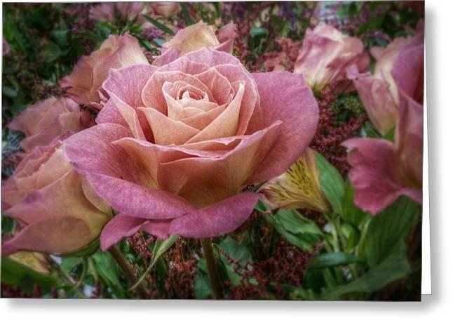 Garden Scene Digital Greeting Cards - Pink Rose Greeting Card by Linda Unger