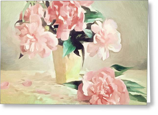 Pink Rose Romance Greeting Card by Georgiana Romanovna