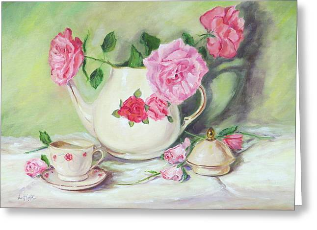 Pink Pillow With Red Roses Greeting Cards - Pink Roses and Tea Greeting Card by Jean Costa