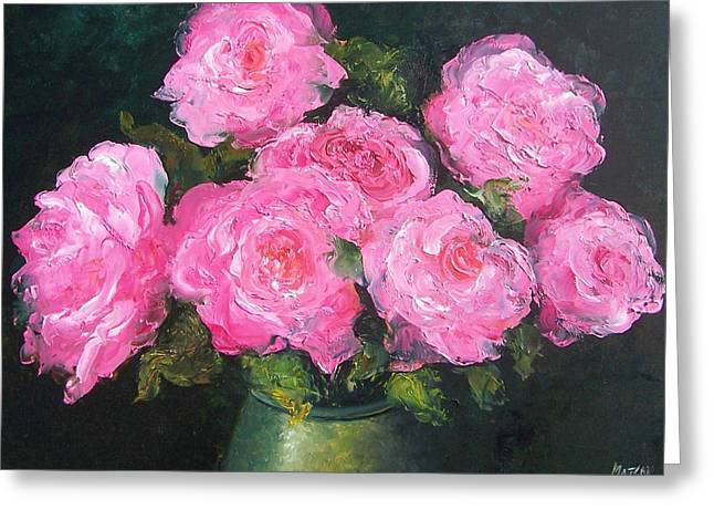 Flower Still Life Prints Greeting Cards - Pink Roses in a brass vase Greeting Card by Jan Matson