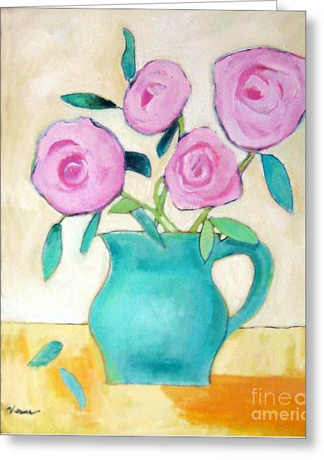 Pitcher Of Roses Greeting Cards - Pink Roses In A Green Vase Greeting Card by Venus