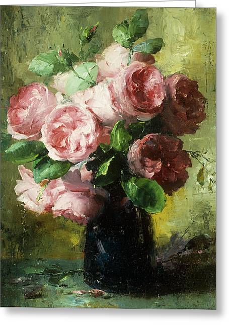 Fran Greeting Cards - Pink Roses in a Vase Greeting Card by Frans Mortelmans