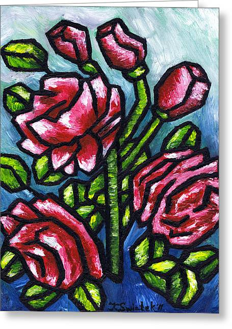Polish Artists Greeting Cards - Pink Roses Greeting Card by Kamil Swiatek