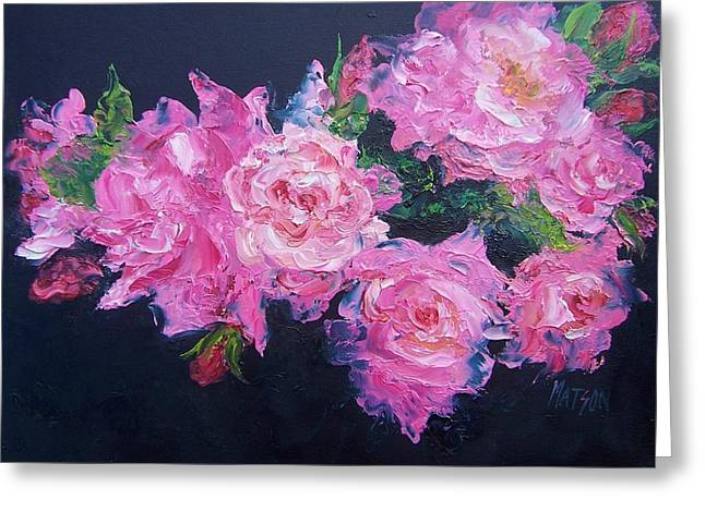 Lounge Paintings Greeting Cards - Pink Roses oil painting Greeting Card by Jan Matson