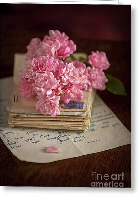 Collecting Flower Bouquets Greeting Cards - Pink Roses Vintage Envelopes And Love Letter Greeting Card by Lee Avison