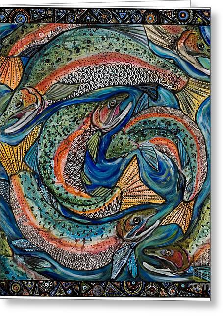 Salmon Paintings Greeting Cards - Pink Salmon Ball Greeting Card by Melissa Cole