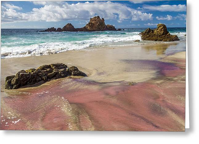 Pfeiffer Beach Greeting Cards - Pink sand beach in Big Sur Greeting Card by Pierre Leclerc Photography
