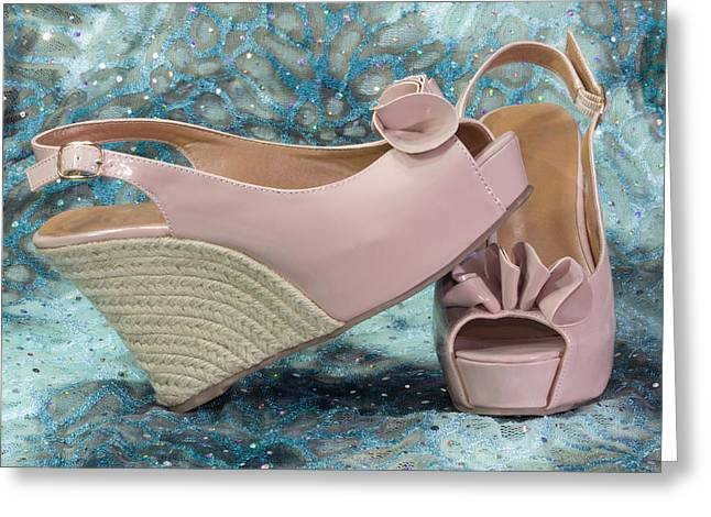 Open Toe Shoes Greeting Cards - Pink Sandal Wedge Still Life Greeting Card by Patti Deters