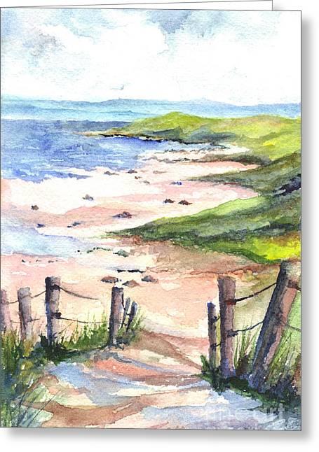 Sandy Beaches Drawings Greeting Cards - Pink Sands Greeting Card by Carol Wisniewski
