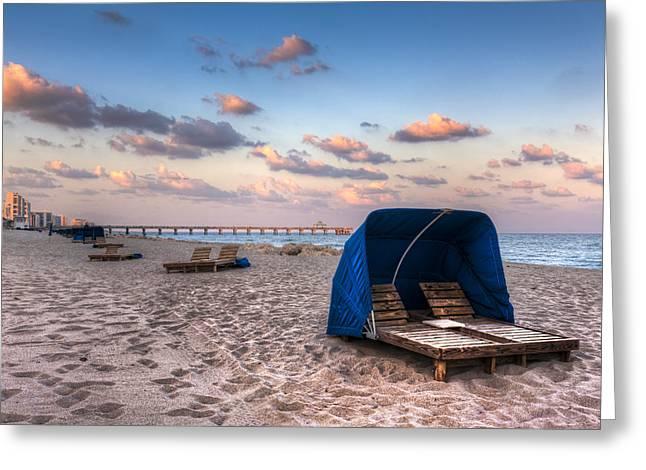 Cabanas Greeting Cards - Pink Sands Greeting Card by Debra and Dave Vanderlaan