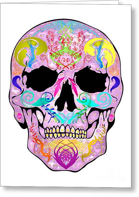 Scull Greeting Cards Greeting Cards - Pink Skull Greeting Card by Mauro Celotti