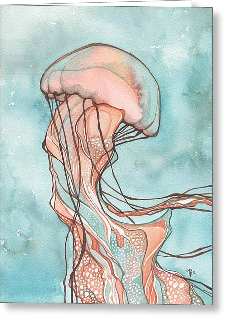 Turquoise Pastel Greeting Cards - Pink Sea Nettle Jellyfish Greeting Card by Tamara Phillips