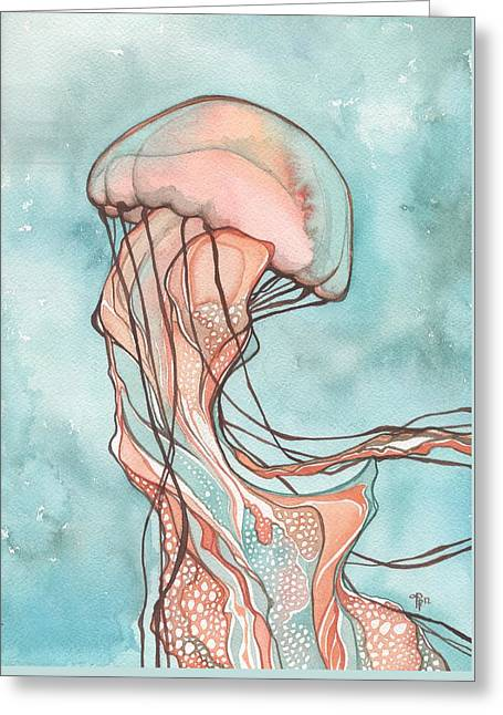 Pink Sea Nettle Jellyfish Greeting Card by Tamara Phillips