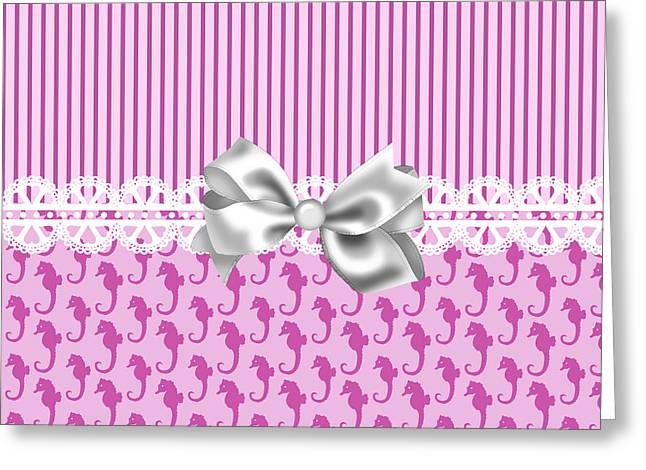Sea Horse Greeting Cards - Pink Seahorses Greeting Card by D Miller