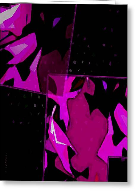Effect Greeting Cards - Pink and Purple on Black Art Greeting Card by Mario  Perez