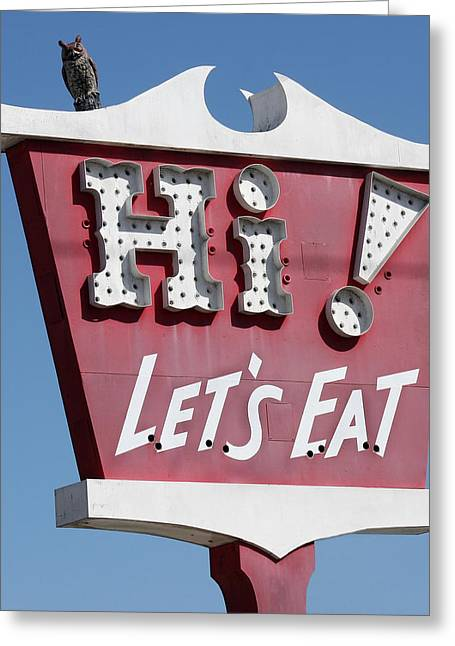 In His Light Greeting Cards - Pink Sign - Lets Eat Greeting Card by Art Block Collections