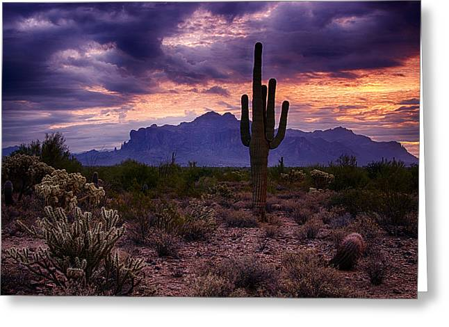 Pink Skies At The Superstitions Greeting Card by Saija  Lehtonen