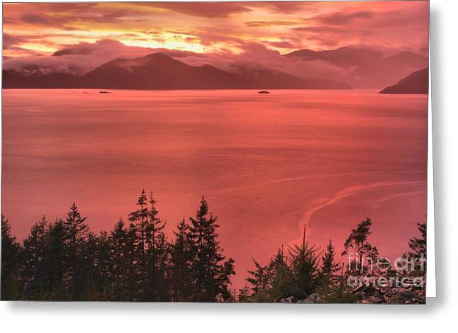 Howe Greeting Cards - Pink Skies Over The Howe Sound Greeting Card by Adam Jewell