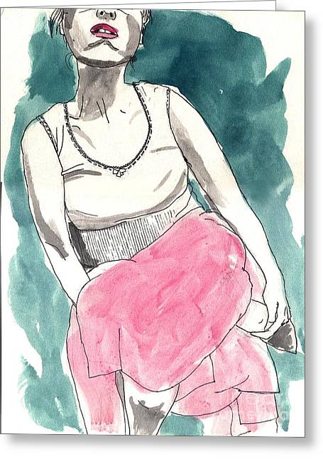 Duo Tone Paintings Greeting Cards - Pink Skirt Greeting Card by Adrienne Dreed
