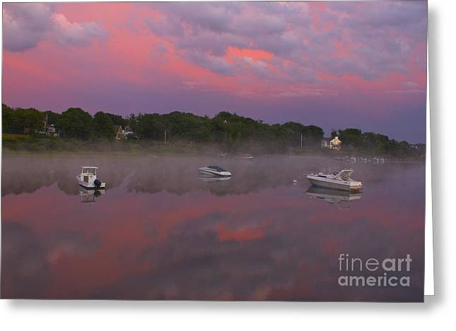 Storm Clouds Cape Cod Greeting Cards - Pink Sky Reflection Greeting Card by Amazing Jules