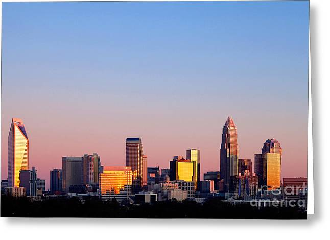 Mecklenburg County Greeting Cards - Pink skyline in Charlotte NC Greeting Card by Patrick Schneider
