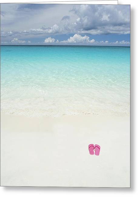 Clear Shoes Greeting Cards - Pink Slippers on Beach Greeting Card by M Swiet Productions