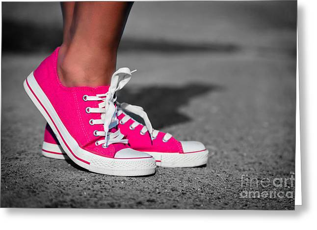 Sneaker Lace Greeting Cards - Pink sneakers  Greeting Card by Michal Bednarek