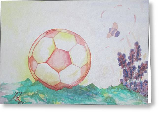 Girls Soccer Art Greeting Cards - Pink Soccer Ball Greeting Card by Nathan  Lonnen