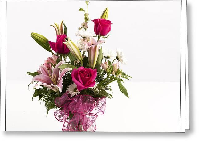 Vase Framed Prints Greeting Cards - Pink Spring Flowers 8046.02 Greeting Card by M K  Miller