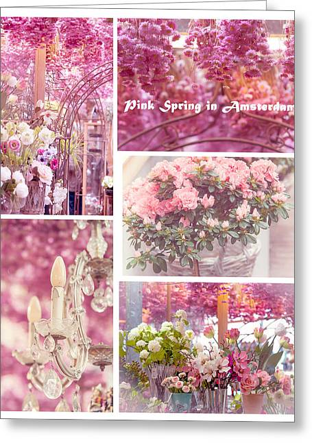 Floating Flowers Greeting Cards - Pink Spring in Amsterdam. Flower Market Greeting Card by Jenny Rainbow